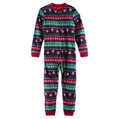 Kid 4-20 Jammies For Your Families Snowman Fairisle Microfleece One-Piece Pajamas
