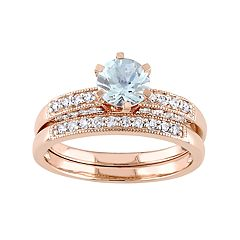 10k Rose Gold Aquamarine & 1/3 Carat T.W. Diamond Engagement Ring Set by