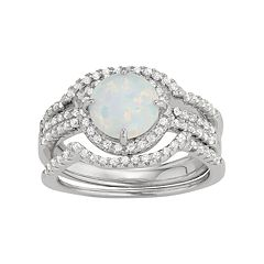 Sterling Silver Lab-Created Opal & White Sapphire Halo Ring Set by
