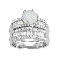 Sterling Silver Lab-Created Opal & White Sapphire Ring Set by