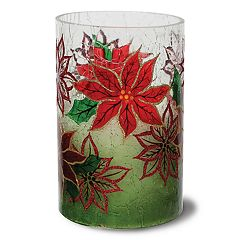 Apothecary Poinsettia LED Candle Table Decor by