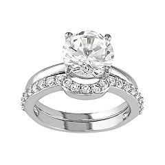 10k White Gold Lab-Created White Sapphire Engagement Ring Set by