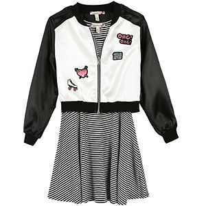 Girls 7-16 & Plus Size Speechless Patch Applique Bomber Jacket & Striped Skater Dress Set