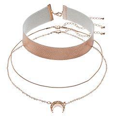 Faux-Leather Choker & Crescent Necklace Set