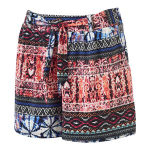Women's French Laundry Print Pleated Soft Shorts