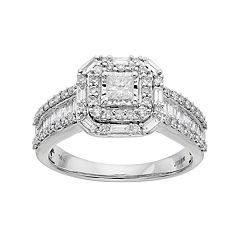 Lovemark 10k White Gold 1 Carat T.W. Diamond Cushion Halo Engagement Ring by