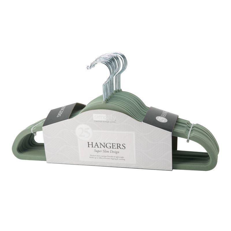Simplify 25-pack Slim Velvet Suit Hangers, Green thumbnail