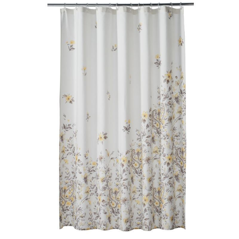 One Home Taylor Floral Shower Curtain, Grey thumbnail