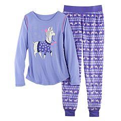 Girls 4-14 SO Glitter Graphic Tee & Fleece Bottoms Pajama Set