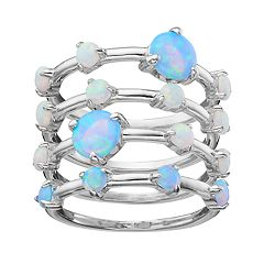 Sterling Silver Lab-Created Opal Stack Ring Set by