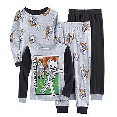 Boys 6-12 Minecraft Skeleton 4-Piece Pajama Set