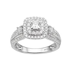 Simply Vera Vera Wang 14k White Gold 1 Carat T.W. Diamond Square Halo Engagement Ring by
