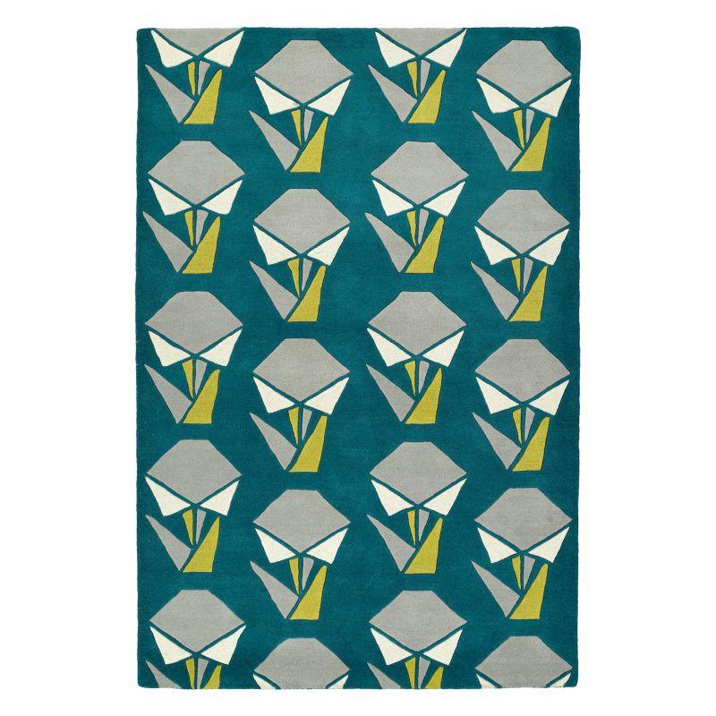 Kaleen Origami Handler Geometric Wool Rug, Med Green thumbnail