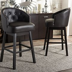 Baxton Studio Avril Faux-Leather Swivel Counter Stool 2-piece Set  by