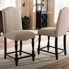 Baxton Studio Zachary Upholstered Counter Stool 2-piece Set  by