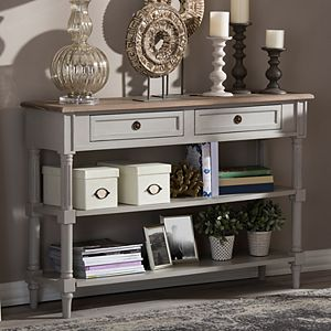 Baxton Studio Farmhouse Shabby Chic 2-Drawer Console Table