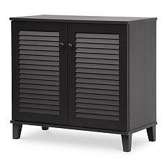 Baxton Studio Coolidge Shutter Door Storage Cabinet by