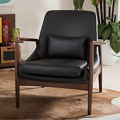 Baxton Studio Carter Mid-Century Faux-Leather Accent Chair  by