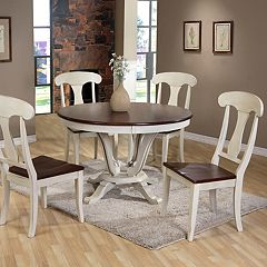Baxton Studio Napoleon Round Pedestal Dining Table & Chair 5-piece Set  by