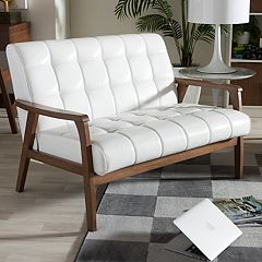 Baxton Studio Mid-Century Faux-Leather Loveseat by