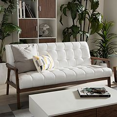 Baxton Studio Mid-Century Faux-Leather Sofa  by