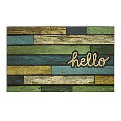 Mohawk Home ''Hello'' Striped Woodgrain Rubber Doormat 18'' x 30''