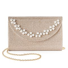 Lenore by La Regale Simulated Pearl Crescent Jacquard Flap Clutch