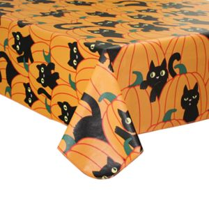 Celebrate Halloween Together Black Cat & Pumpkin Vinyl Tablecloth