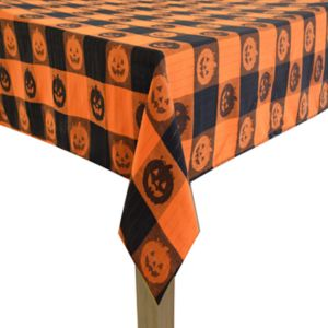 Celebrate Halloween Together Woven Jacquard Pumpkin Tablecloth