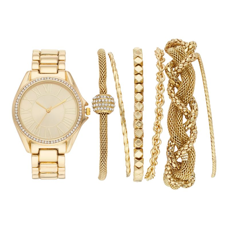 Women's Crystal Watch & Bracelet Set, Size: Medium, Yellow thumbnail