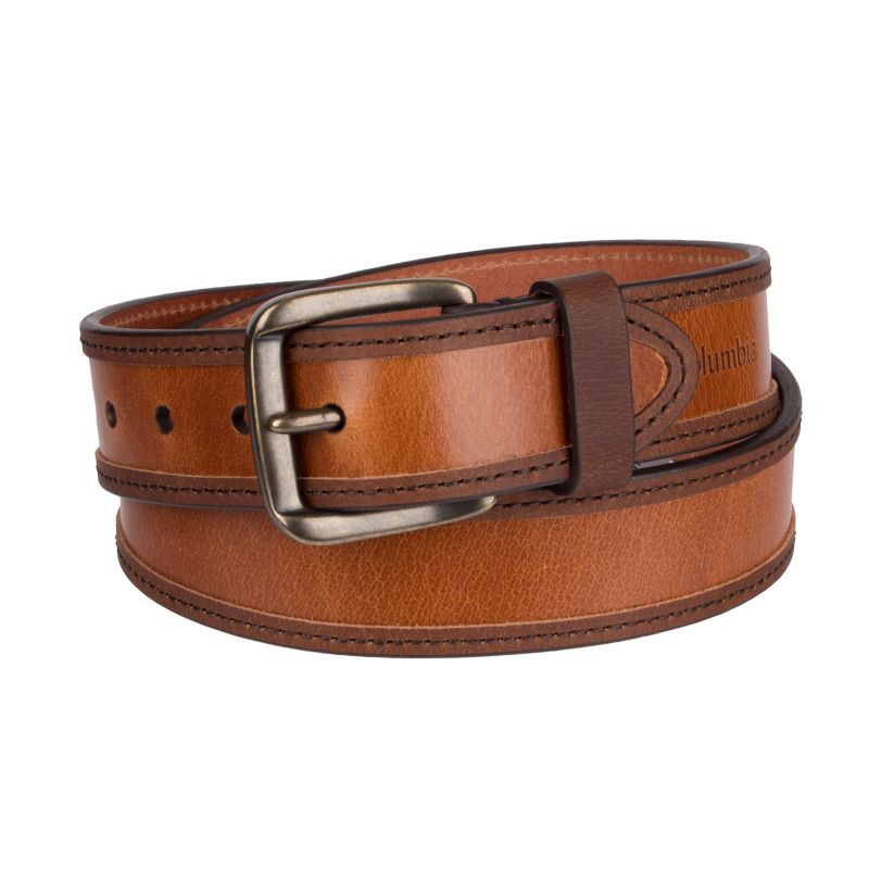 Men's Columbia Overlay-Edge Leather Belt, Size: Medium, Dark Beige thumbnail