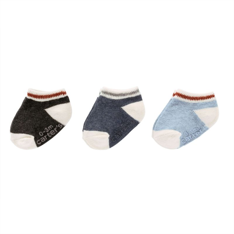 Baby / Toddler Boy Carter's 3-pk. Striped Trim Ankle Socks, Size: 0-3 Months, Multi thumbnail