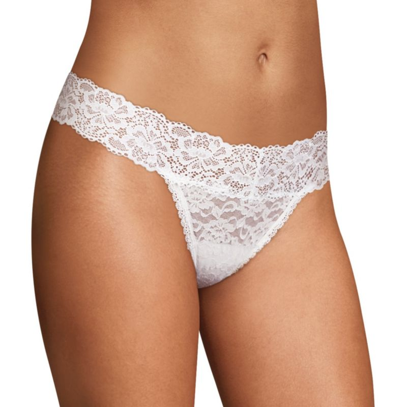 Maidenform Allover Lace Thong Panty Dmeslt, Women's, Size: 5, White thumbnail