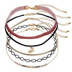 Mudd Unicorn, Beaded, Velvet & Faux-Leather Choker Necklace Set