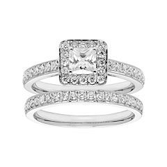 14k Gold 1 1/6 Carat T.W. IGL Certified Diamond Square Halo Engagement Ring Set by