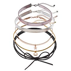 Mudd Faux Leather Choker & Tie Necklace Set