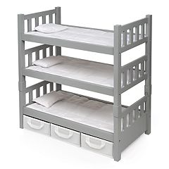 Badger Basket 1-2-3 Convertible Doll Bunk Bed with Storage Baskets by