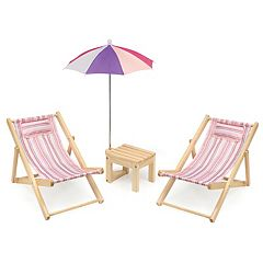 Badger Basket Two Doll Beach Chair Set with Table & Umbrella by