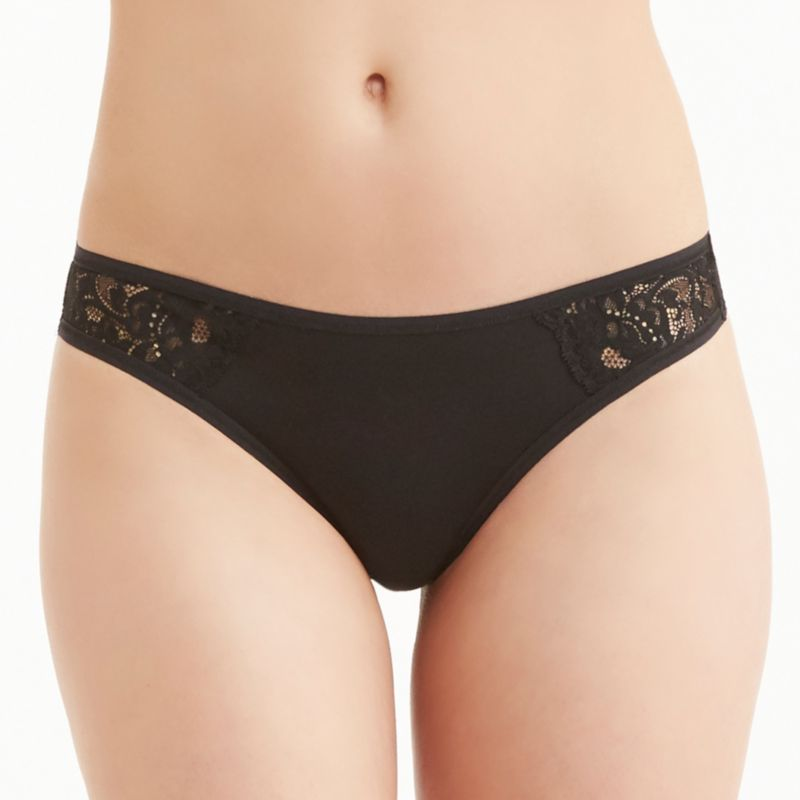 Montelle Intimates Thong Panty 9388, Women's, Size: Medium, Black thumbnail