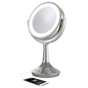 iHome Double-Sided Vanity Mirror Bluetooth Speaker with USB Charging
