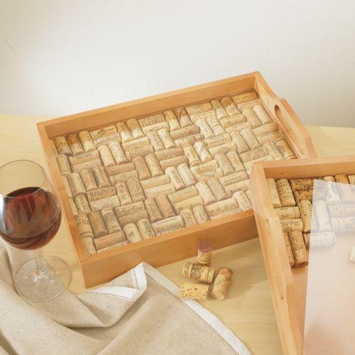 Wine Enthusiast Wine Cork Serving Tray Kit