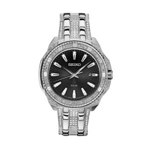 Seiko Men's Crystal Stainless Steel Solar Watch - SNE457