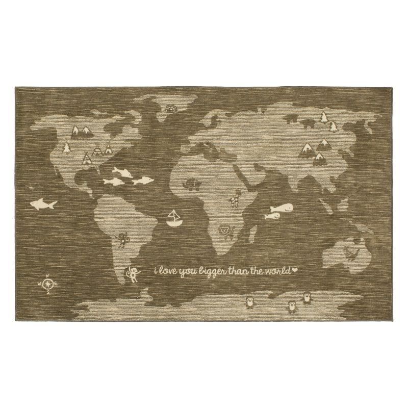 Mohawk® Home Aurora Bigger Love Wear-Dated World Map Rug, Grey thumbnail