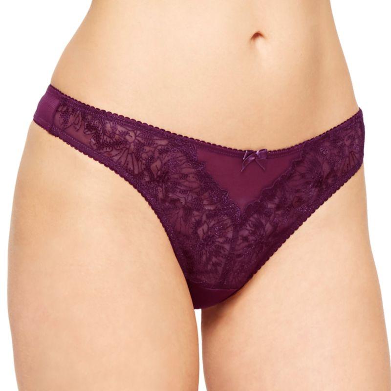 Montelle Intimates Mystic Garden Thong Panty 9300, Women's, Size: Medium, Med Purple thumbnail