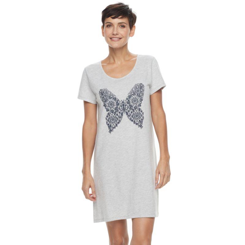 Women's Croft & Barrow® Pajamas: Knit Short Sleeve Sleep Shirt, Size: Small, Light Grey thumbnail