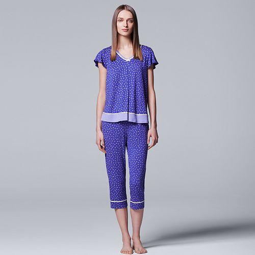 c6541af7df4a6 Women's Simply Vera Vera Wang Pajamas: Short Sleeve Sleep Top & Capri Pants  Set