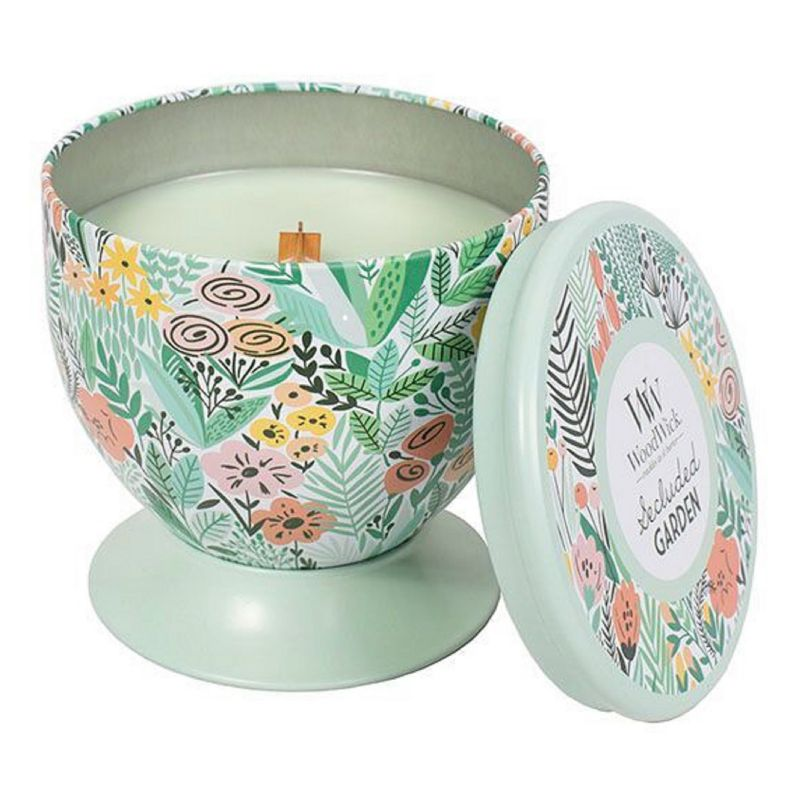 WoodWick Gallerie Tin Secluded Garden 8.5-oz. Candle Jar, Lt Green thumbnail
