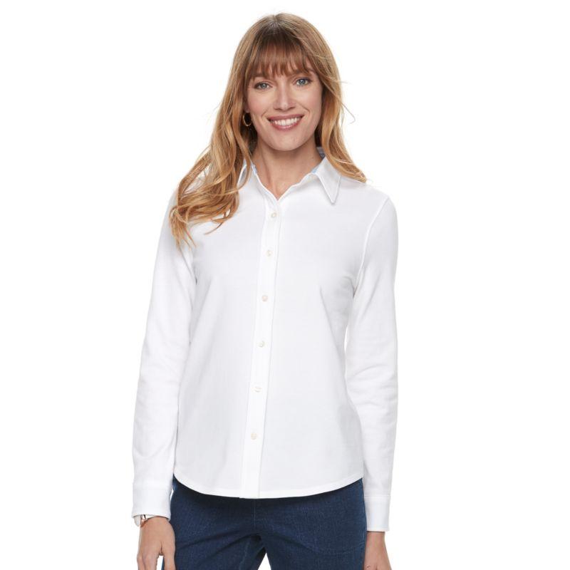 Women's Croft & Barrow® Button Front Shirt, Size: XS, White thumbnail