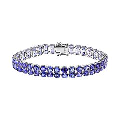 Sterling Silver Tanzanite Double Row Bracelet by