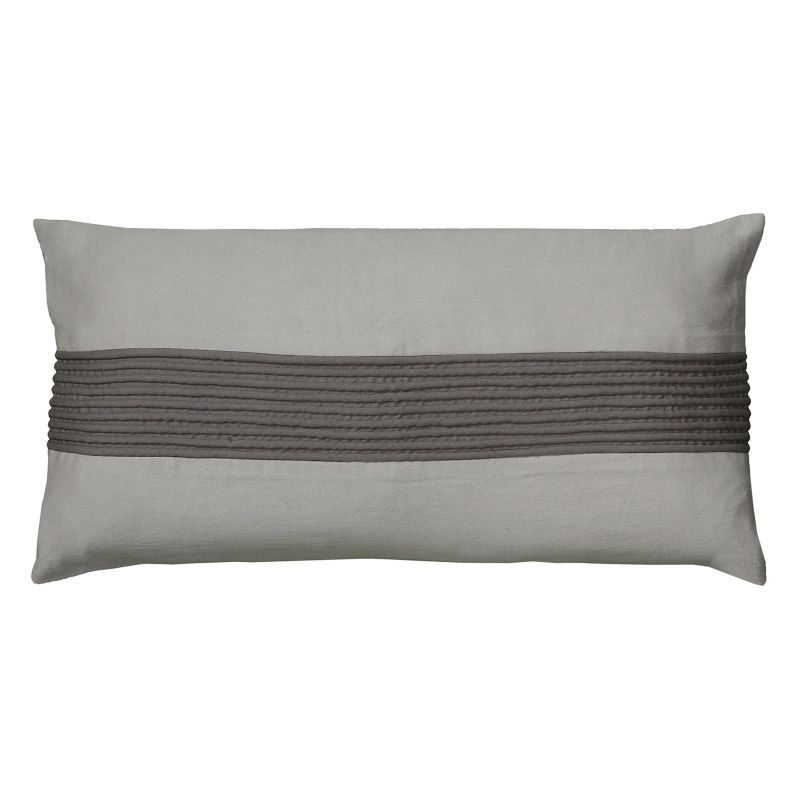 Rizzy Home Stripe Dimensional Oblong Throw Pillow, Grey thumbnail